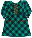 RuffleButts Navy & Emerald Plaid A-Line Dress - Basically Bows & Bowties