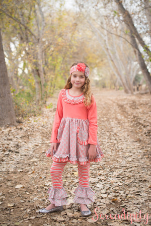 Serendipity Sweet Magnolia Pocket Dress & Ruffle Leggings Set w/Headband - Basically Bows & Bowties