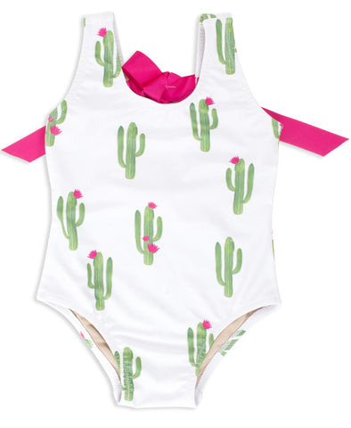 Shade Critters Stuck On You Cactus Swimsuit-White - Basically Bows & Bowties