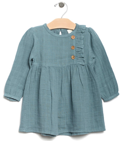 City Mouse Side Button Muslin L/S Dress-Lake