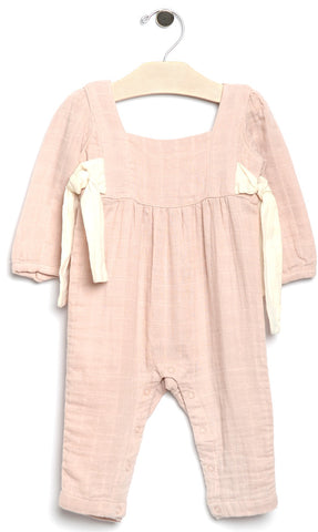 City Mouse Soft Rose Side Ties Muslin Romper Basically Bows & Bowties