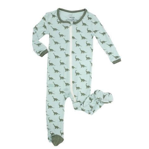 Silkberry Baby Bamboo Printed Footie w/Zipper-Dino - Basically Bows & Bowties