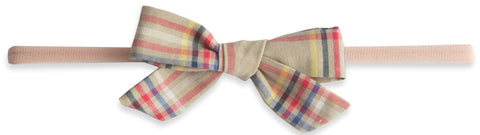 Baby Bling Tan Plaid Cotton Print Skinny Bow Headband - Basically Bows & Bowties
