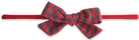Baby Bling Red/Charcoal Check Cotton Print Skinny Bow Headband - Basically Bows & Bowties