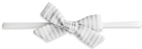 Baby Bling Silver Stripe Cotton Print Skinny Bow Headband - Basically Bows & Bowties