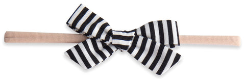 Baby Bling Black Stripe Cotton Print Skinny Bow Headband