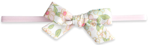 Baby Bling Pink Floral Cotton Print Skinny Bow Headband - Basically Bows & Bowties