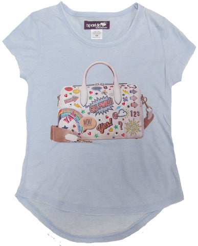 Sparkle by Stoopher Patch Bag Hi Lo Light Blue Cap Sleeve Tee