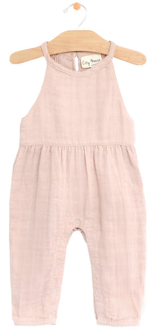 City Mouse Peach Blossom Muslin Lace Back Romper