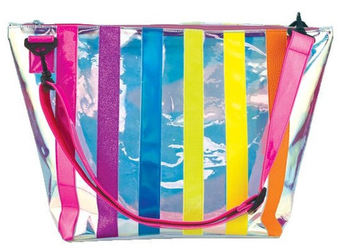 Iscream Iridescent Striped Overnight Bag Basically Bows & Bowties