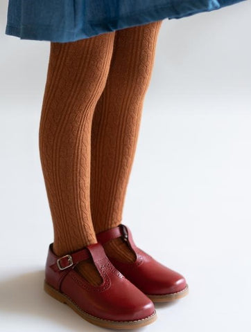 Little Stocking Co Sugar Almond Cable Knit Tights Basically Bows & Bowties