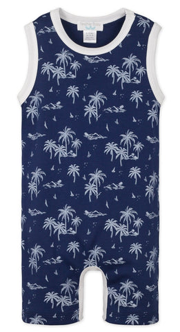 Feather Baby Vintage Hawaii White on Indigo Tank Romper Basically Bows & Bowties