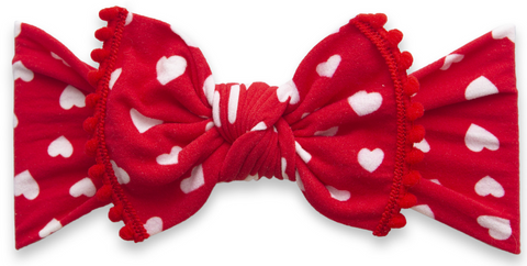Baby Bling Luv Ya w/Red Pom Trim Printed Knot Headband