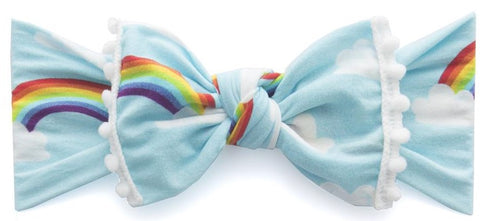 Baby Bling Rainbow w/White Pom Trimmed Knot Headband - Basically Bows & Bowties