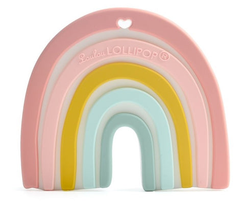LouLou Lollipop Pastel Rainbow Silicone Teether Basically Bows & Bowties