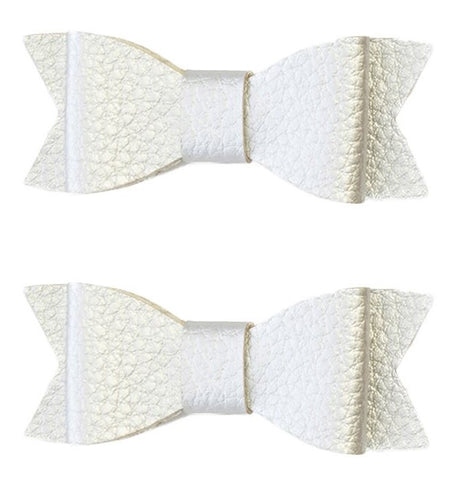 Baby Bling Leather Bow Tie Clip Set-Silver - Basically Bows & Bowties