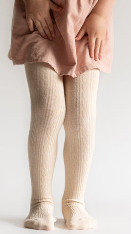 Little Stocking Co Vanillas Cream Cable Knit Tights Basically Bows & Bowties