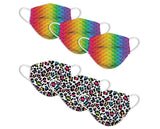 Kids Disposable Masks - Leopard Camo / Rainbow