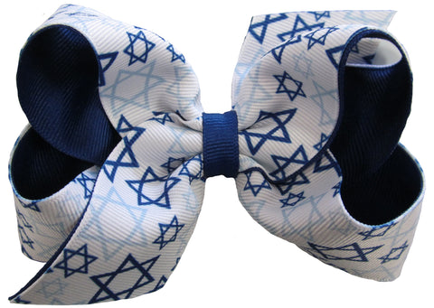 Large Star of David Hanukkah Hair Bow on Clippie