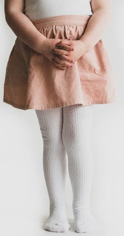 Little Stocking Co White Cable Knit Tights Basically Bows & Bowties