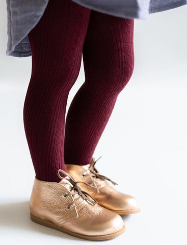 Little Stocking Co Wine Cable Knit Tights Basically Bows & Bowties