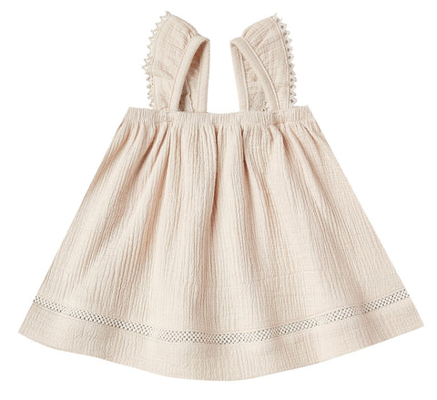 Quincy Mae Natural Woven Ruffled Tube Dress