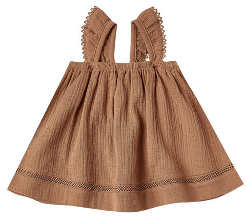 Quincy Mae Rust Woven Ruffled Tube Dress