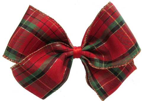 X-Large Holiday Plaid Layered Hair Bow on Clippie