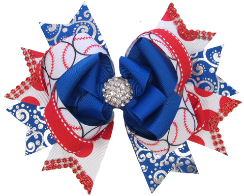 X-Large Over the Top Baseball Hair Bow - Basically Bows & Bowties