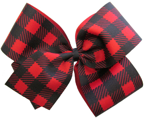 X-Large Buffalo Plaid Hair Bow on Clippie