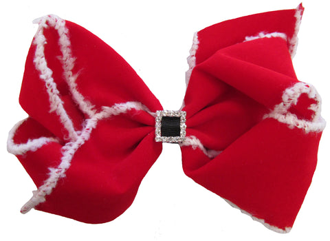 X-Large Santa Suit Hair Bow on Clippie - Basically Bows & Bowties