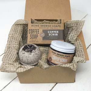 Coffee Bath Gift Set - Coffee Scrub - Coffee Shampoo - Coffee Bath Bomb
