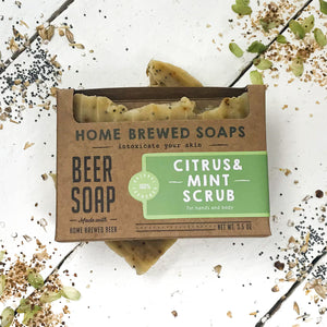 Beer Soap - Citrus & Mint Scrub -  Natural Soap - Exfoliating - Home Brewed Soaps