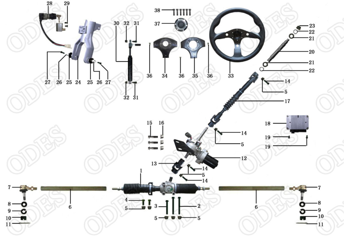 ODES Steering Parts X2810-11   Scooter's Powersports