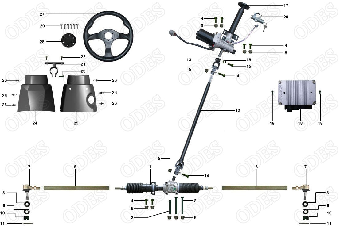 ODES Steering System X2810-10   Scooter's Powersports