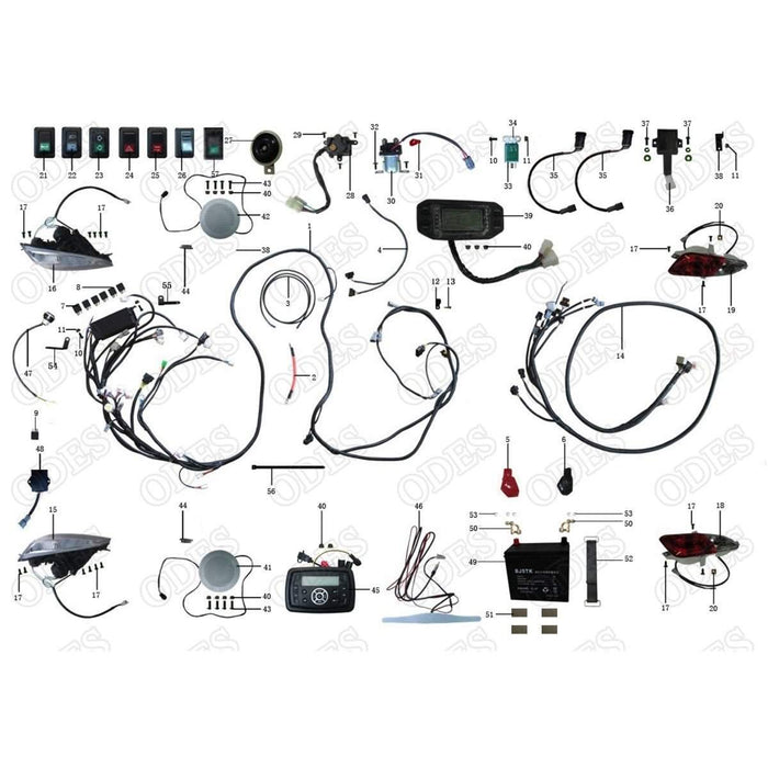 odes raider electrical system non zeus scooter s powersports rh scooterspowersports com Basic Electrical Wiring Diagrams Basic Electrical Schematic Diagrams