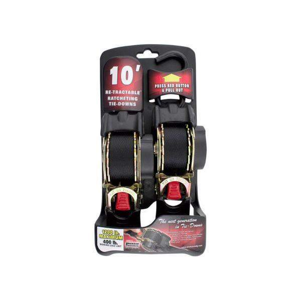10' Retractable Ratcheting Tie-Down Straps