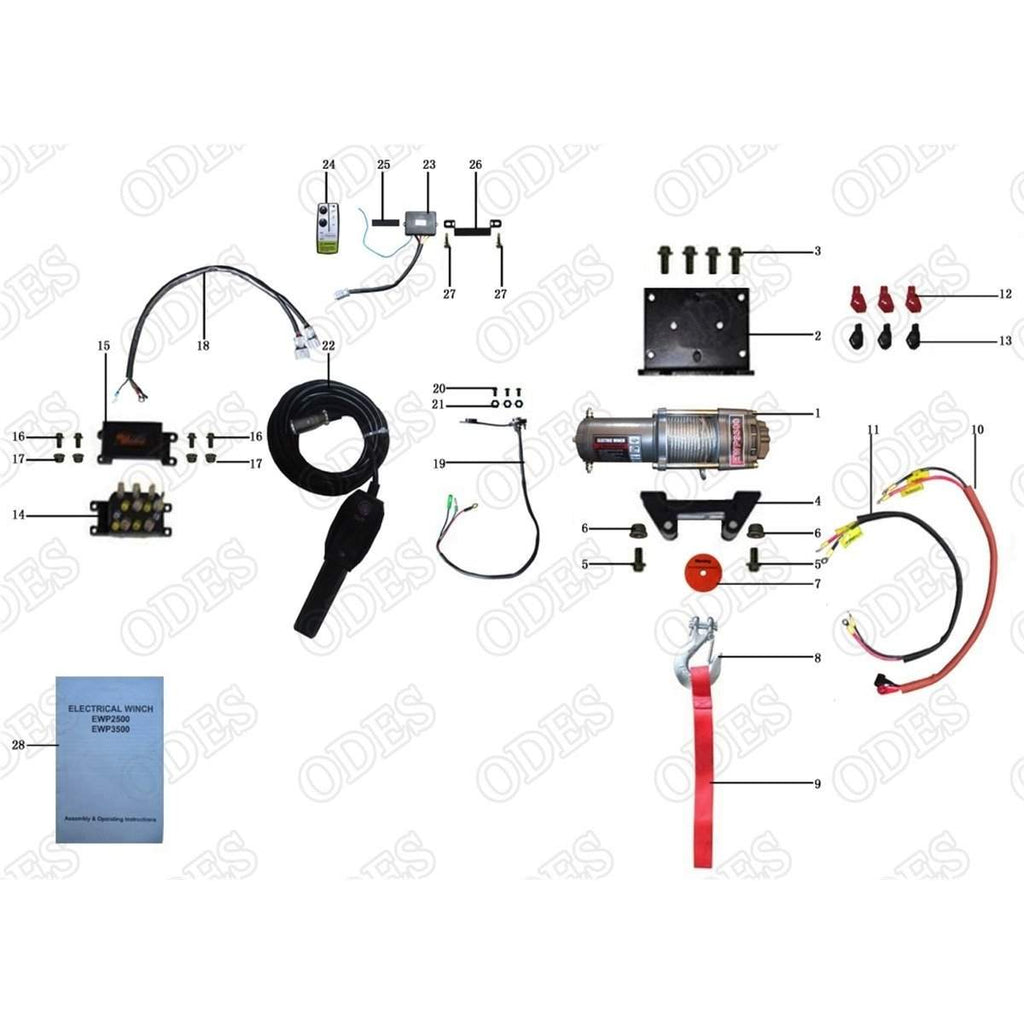 Odes Atv Winch Wiring Diagram Electricity Basics Electric Dominator X4 Front System Scooter S Powersports Rh Scooterspowersports Com Solenoid