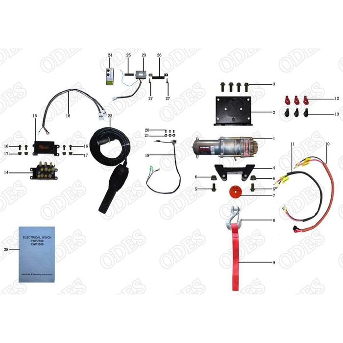 odes dominator x4 front winch system scooter s powersports rh scooterspowersports com Winch Solenoid Wiring Diagram ATV Winch Solenoid Wiring Diagram