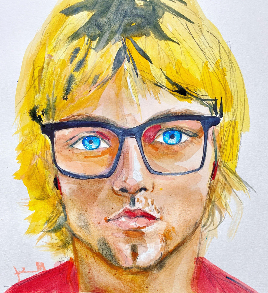"Kurt. 12""x12"" original watercolor painting. - Kyra Kendall"