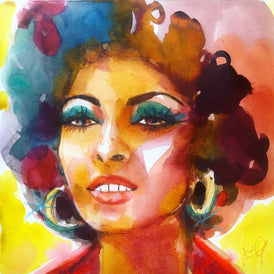 "Foxy Brown. 12""x12"" original watercolor painting"