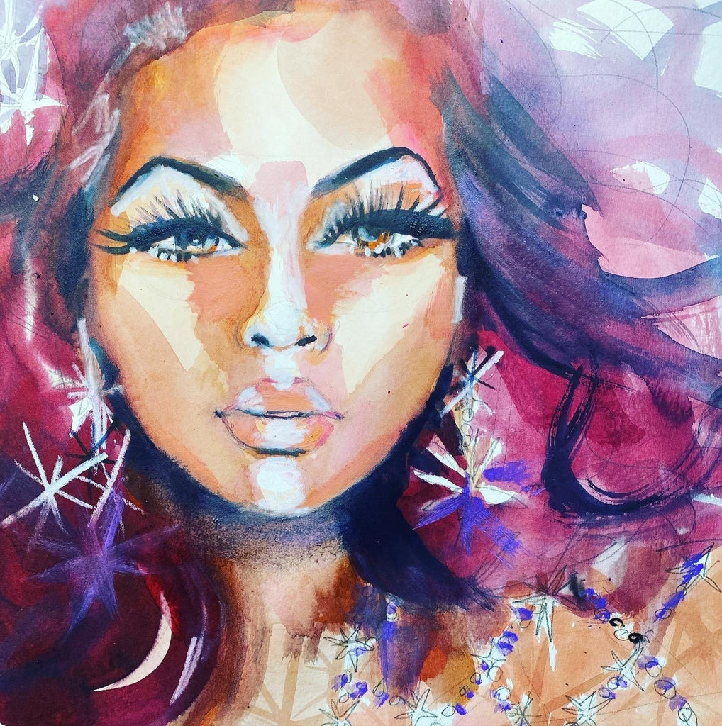 "Beyoncé. 12""x12"" original watercolor painting. - Kyra Kendall"