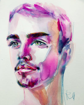 "Justin. 12""x14"" original watercolor painting."
