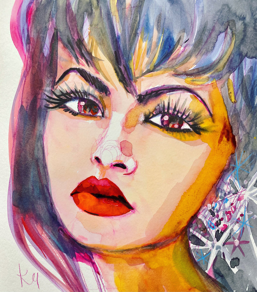 "Selena. 12""x12"" original watercolor painting."