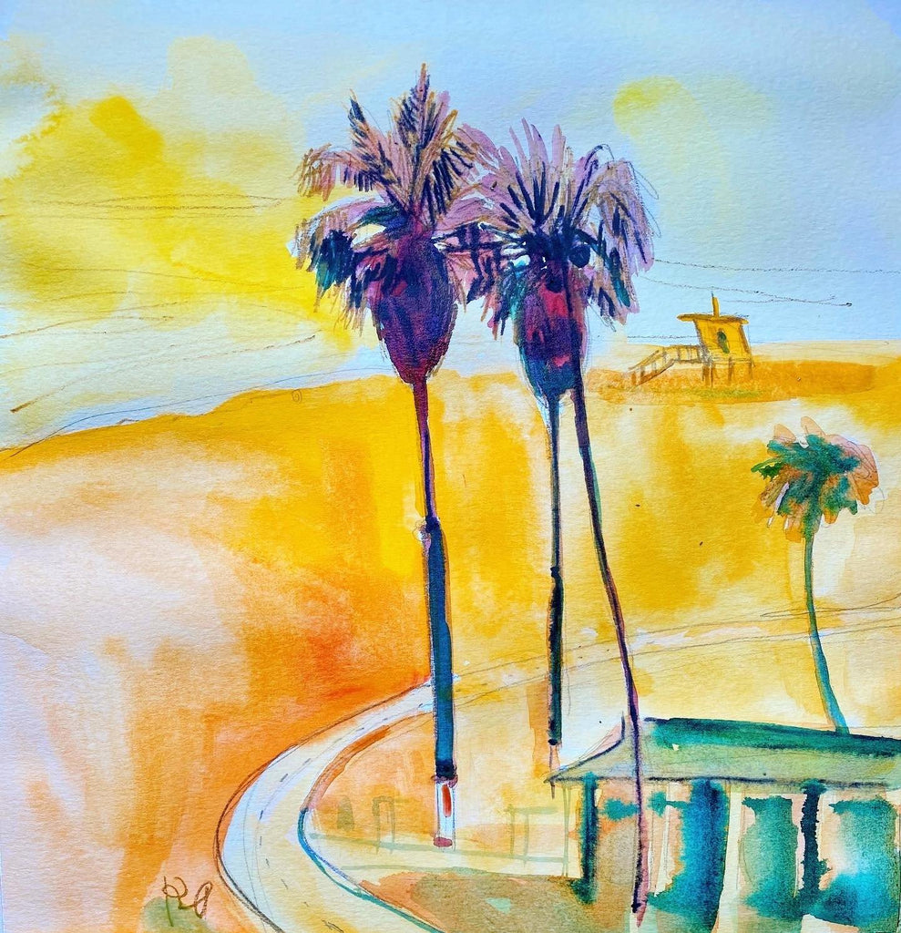 "Palms. 12""x12"" original watercolor painting. - Kyra Kendall"