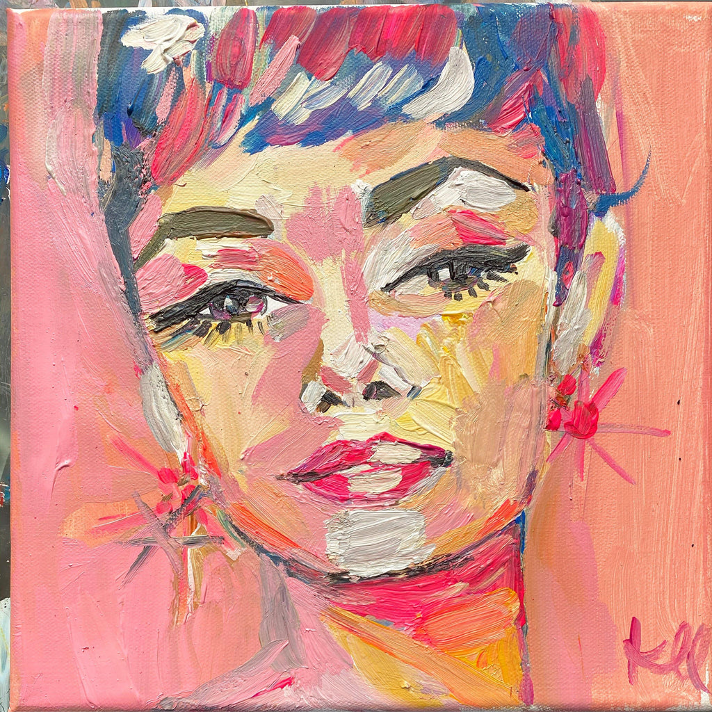 "Audrey. 10""x10"" original acrylic painting on canvas."