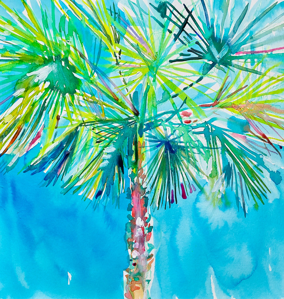 "Palm. 12""x12"" original watercolor painting."