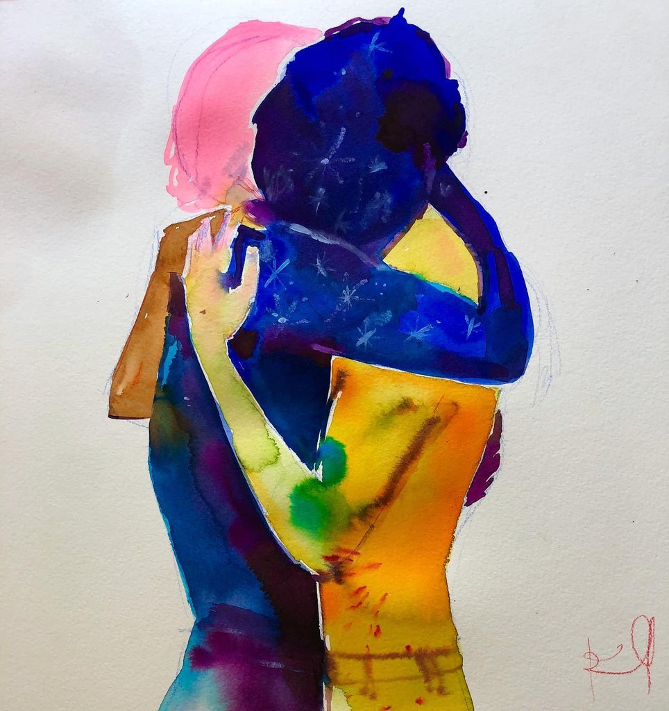 "Love. 12""x12"" original watercolor painting"