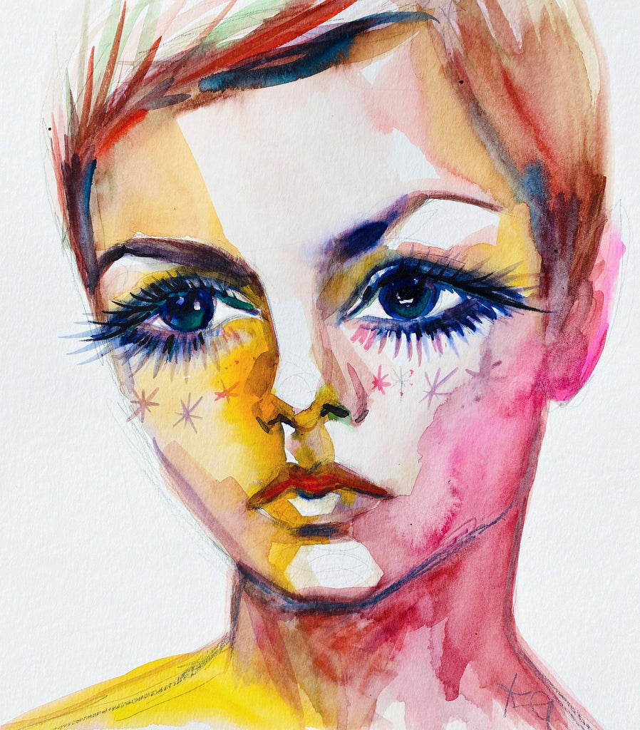 "Twiggy. 12""x12"" original watercolor painting. - Kyra Kendall"