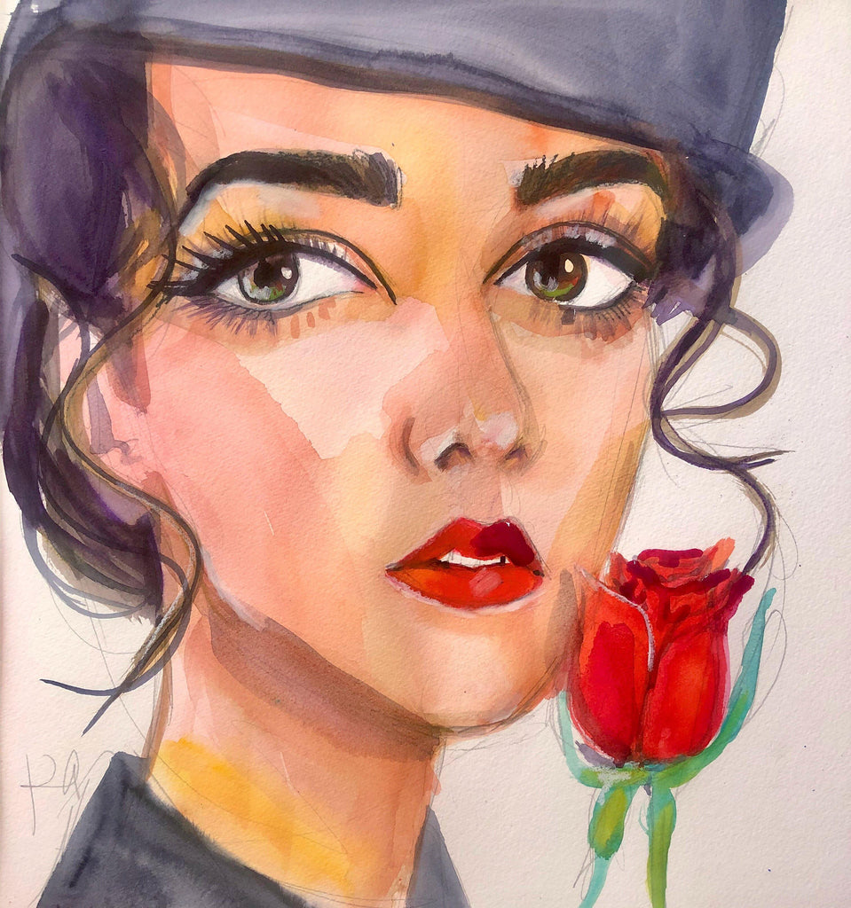 "Celine. 12""x12"" original watercolor painting. - Kyra Kendall"